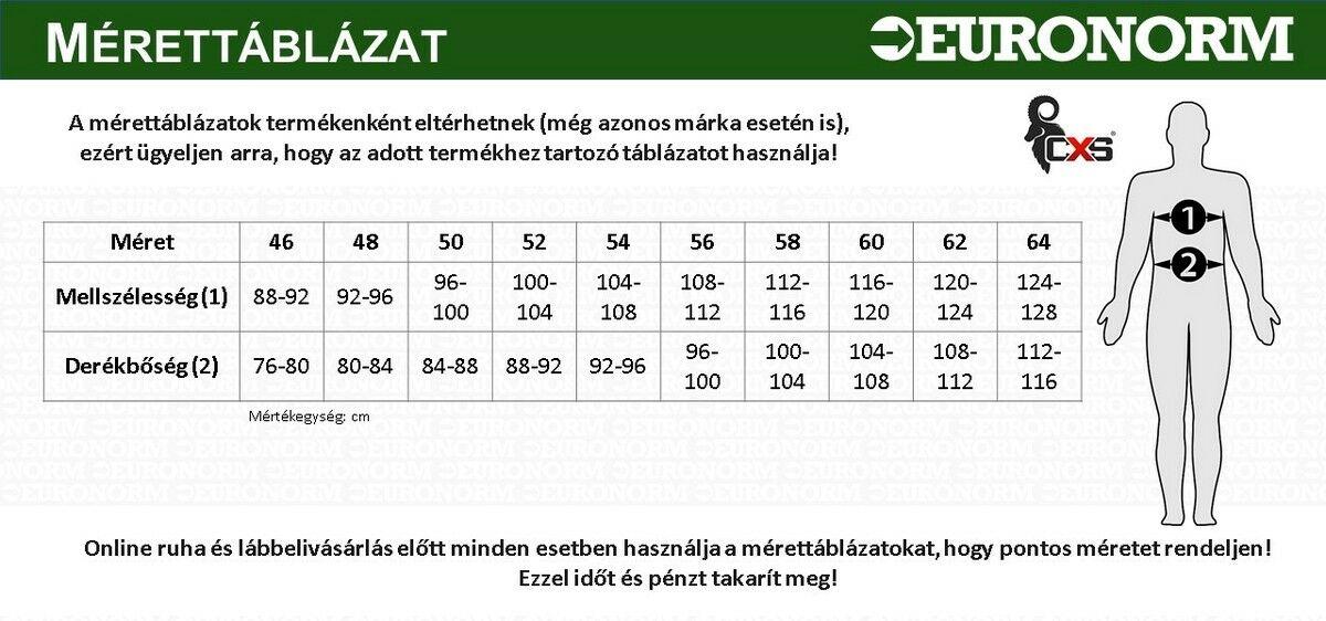 CXS munkaruha mérettáblázat